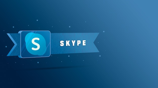 Логотип skype с надписью на технологической табличке 3d