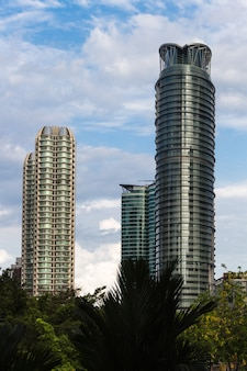 Skyscaper and  modern office glass-like buildings
