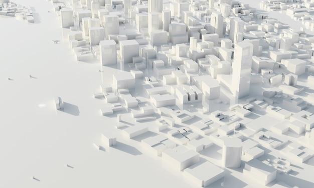 흑백에서 마천루와 대도시입니다. 건축 및 비즈니스 도시 계획 개념입니다. 낮은 다각형 도시 풍경입니다. 메가 프로젝트 테마의 청사진. 공간을 복사합니다. 3d 일러스트레이션 렌더링