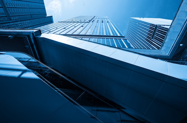 Skyscraper glass curtain wall, modern office building in qingdao, china