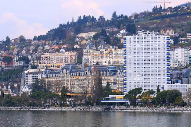 Skyscrapers along the montreux lake in summer time at  montreux switzerland close to franc