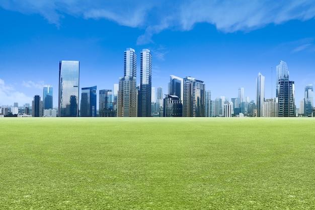 녹색 초원 필드와 푸른 하늘 배경으로 고층 빌딩과 현대적인 건물