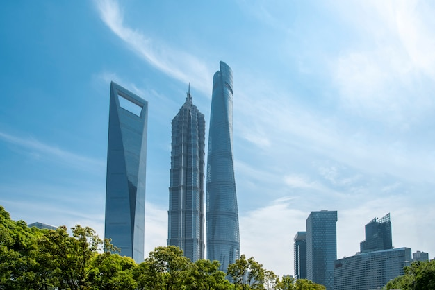 Skyscrapers in the financial district of shanghai, china