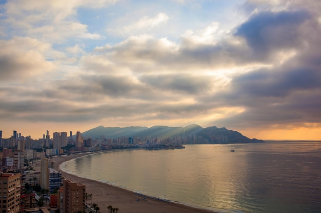 Skyscrapers and heavy clouds in the benidorm