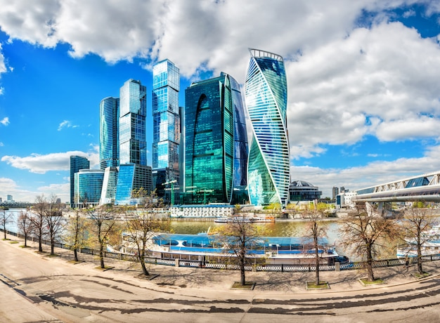 Skyscrapers of moscow city against the blue sky and white clouds