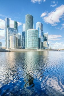 Skyscrapers of moscow-city on the river
