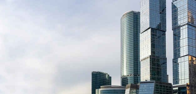 Skyscrapers in moscow (moscow city) against the sky. modern glass skyscrapers