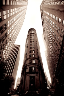 Skyward view of buildings in the financial district of manhattan, new york city, u.s.a.