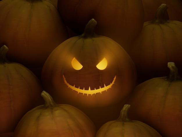 기울어진 눈 불길한 smilecarve 호박 얼굴 이모티콘 3d 그림 렌더링 어두운 조명