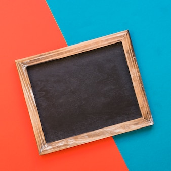 Slate on blue and red background