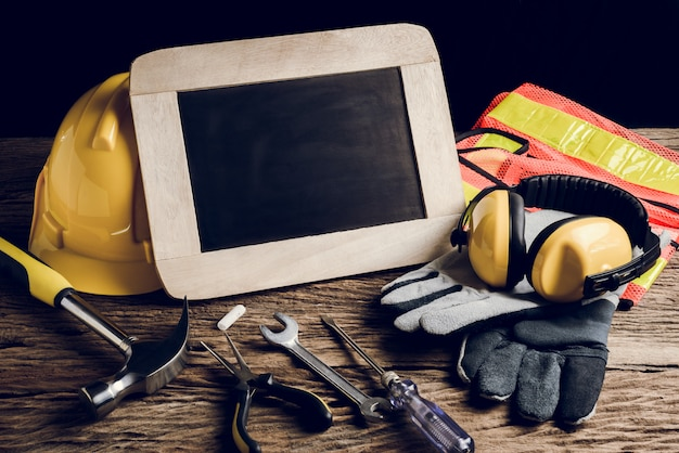 Slate board, protective clothing and hand tool