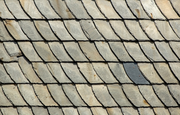 Slate at house - slate roof and slate facade background.