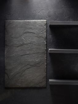 검은 배경 질감에 슬레이트 돌과 벽 선반
