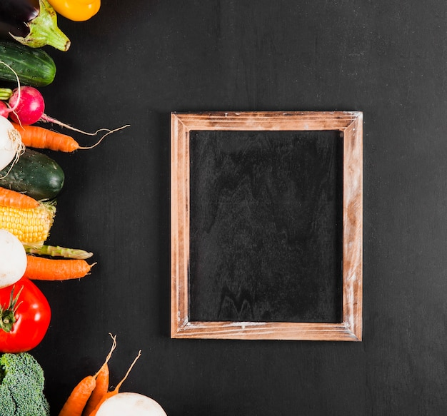 Slate next to vegetables