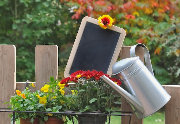 Slate and watering can on a garden fence in autumnal flowers and foliage
