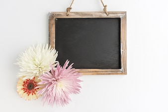 Slate with beautiful flowers