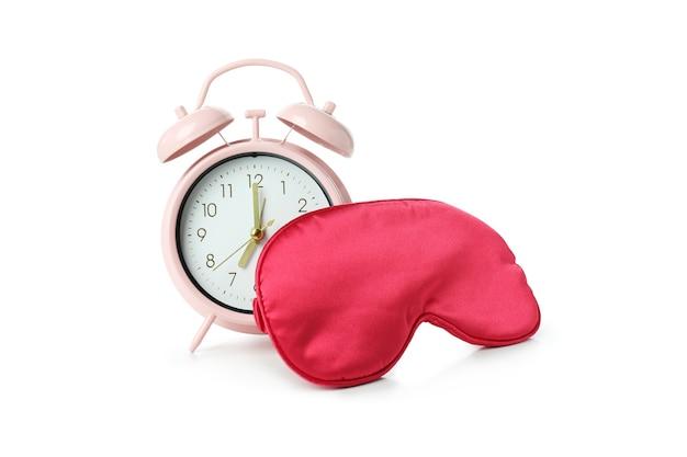 白で隔離の睡眠マスクと目覚まし時計
