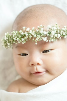 Sleeping asian baby with white background