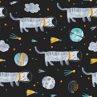 眠っている猫。水彩のシームレスなパターン。空間要素、月、猫、星、雲のある幼稚な質感。