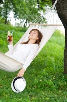 Sleeping on hammock