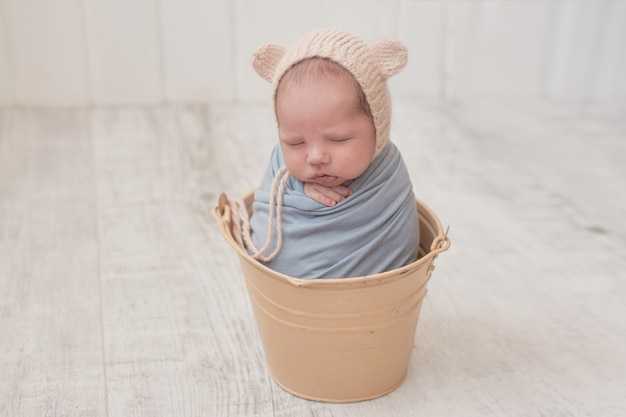 Sleeping newborn baby. healthy and medical concept. healthy child, concept of hospital and happy motherhood. infant baby. happy pregnancy and childbirth. children's theme. baby and childen's goods