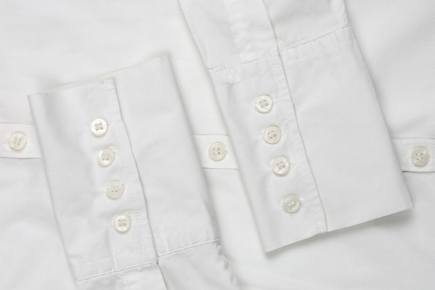 Sleeve white shirt with buttons, top view