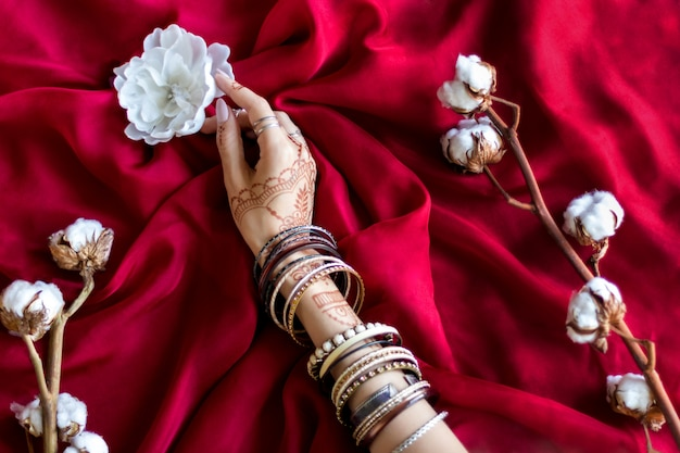 Slender female hand painted with indian oriental mehndi ornaments by henna. hand dressed in bracelets hold white flower. maroon color fabric with folds and cotton branches on background.