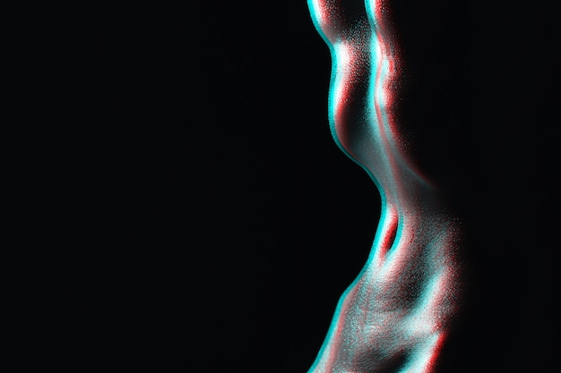 Slender waist of a naked girl. silhouette of wet tummy in drops of sweat on a dark background. sexy fitness figure of a woman. black and white with 3d glitch virtual reality effect