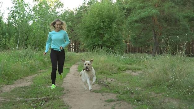 날씬한 어린 소녀는 따뜻한 여름날 순종 개와 함께 숲을 달린다
