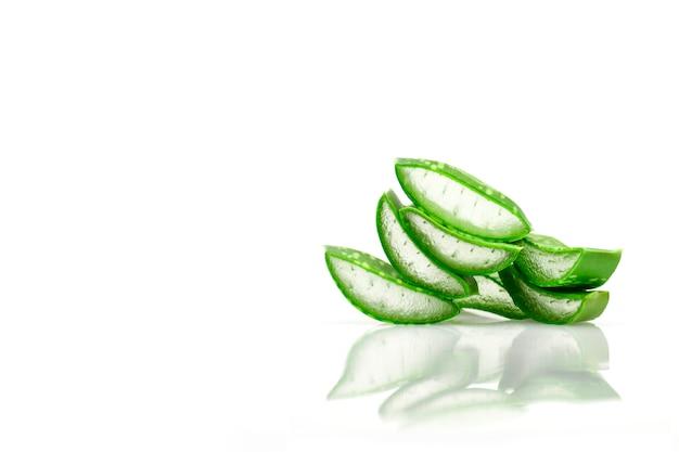 Slice aloe vera useful herbal medicine for skin care and hair care.