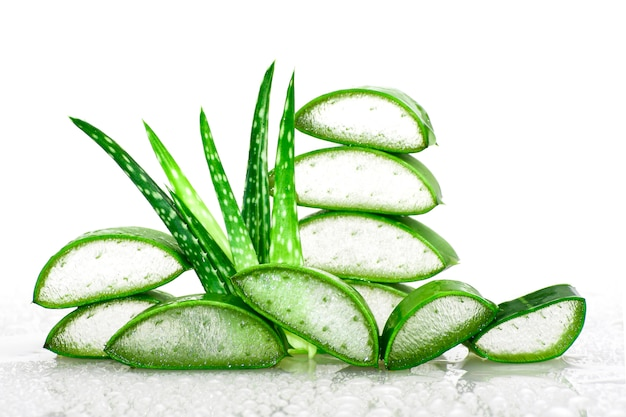 Slice aloe vera very useful herbal medicine for skin and hair