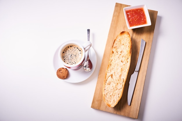 Slice of baguette with jam