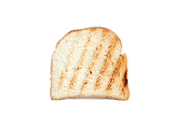 Slice of bread toaster on white