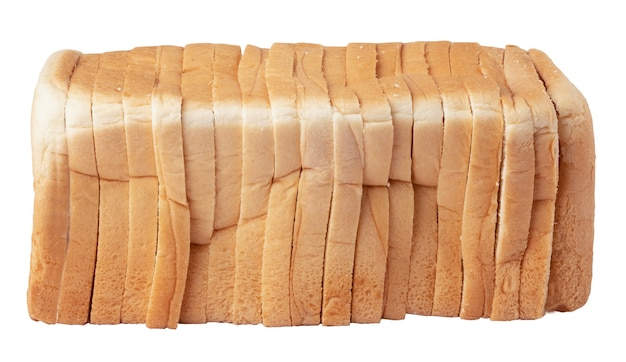 Slice of bread on the white background and isolated with clipping path.
