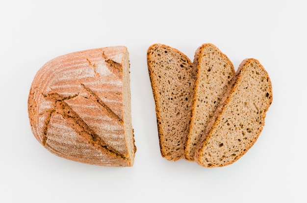 Slice of bread with color background