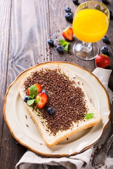 Slice of bread with hagelslag chocolate sprinkles