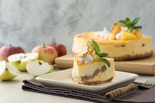Slice of caramel apple cheesecake.