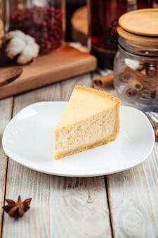 Slice of classic new york cheesecake