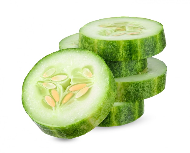 Slice cucumber isolated on white clipping path