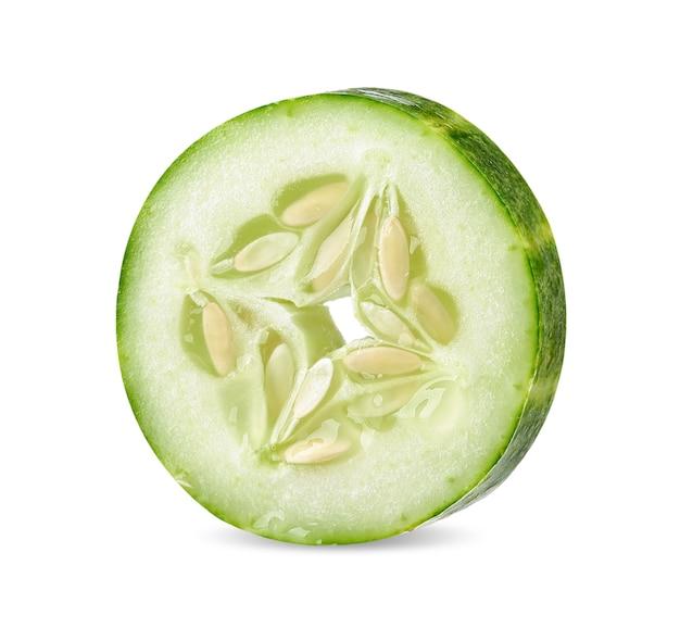 Slice cucumber isolated on white