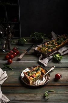 Slice of delicious homemade quiche
