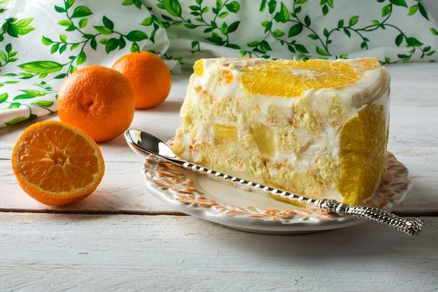 Slice of delicious white jelly fruit tart