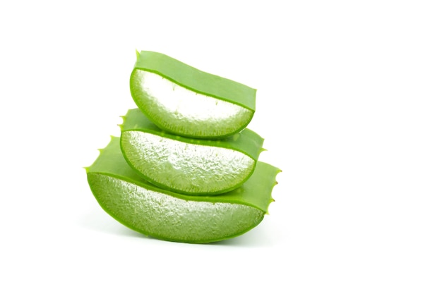 Slice of fresh aloe vera leaves isolated on white.