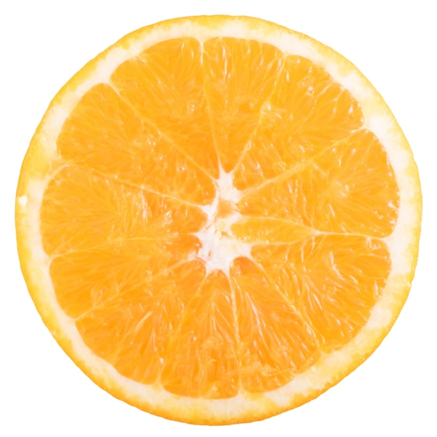 Fetta di arancia fresca isolata