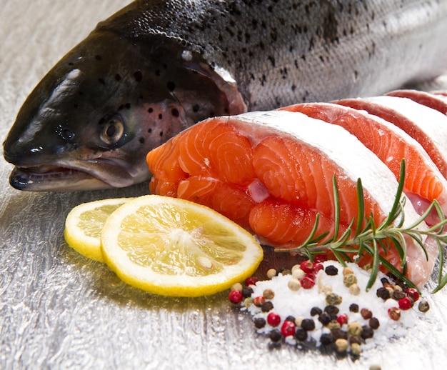Slice of fresh salmon with lemon