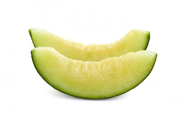 Slice green cantaloupe melon isolated