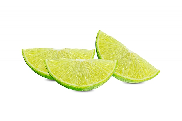 Slice of green lime citrus fruit stand isolated on white