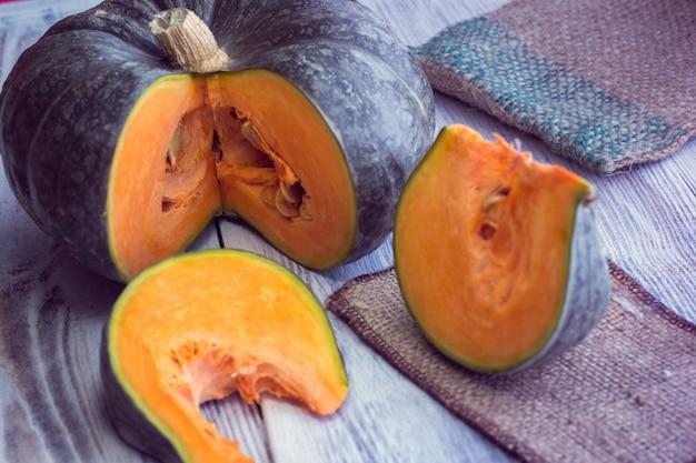 Slice of green pumpkin
