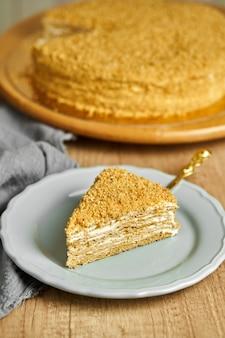 Slice of honey cake on plate