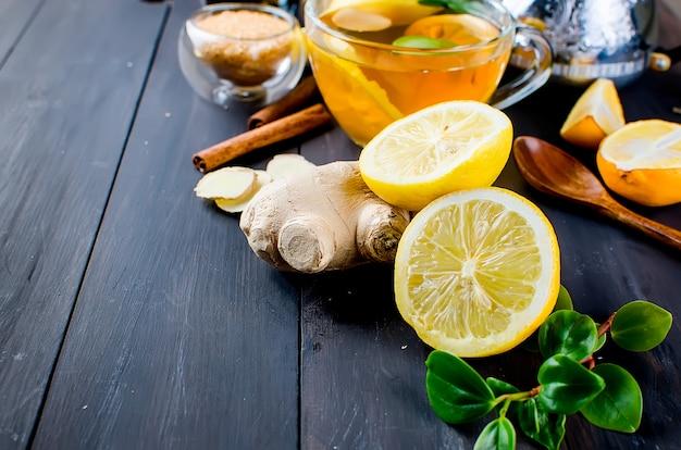 Slice lemon and ginger for aromatic tea